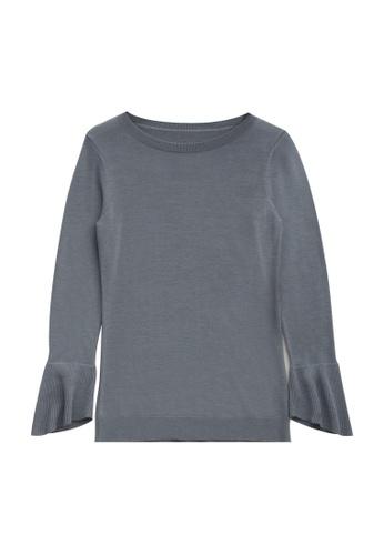 KLAPS grey Cashmere Flare Sleeve Sweater E2176AAFAC6820GS_1