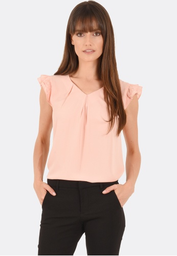 FORCAST pink Kiana Pleat Cap Sleeve Top FO347AA0GYDBSG_1