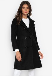 Well Suited black Convertible Collar Trench Coat 80A80AAD795588GS_1