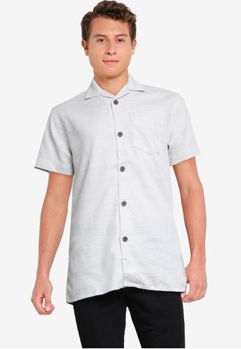 Springfield 白色 Short-Sleeved Textured Bowling Shirt 6FAE5AA556D756GS_1