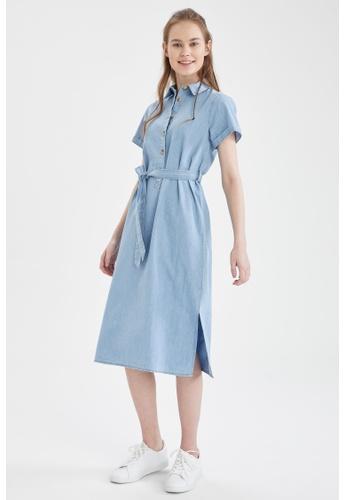 DeFacto 藍色 Short Sleeve Denim Dress 686B7AAB98251CGS_1