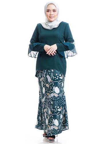 Ashura green Daila Kurung With Flare Sleeves FF564AA131C65EGS_1