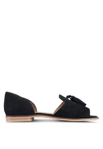 TOPSHOP black Ostrich Tassel Shoes 872E5SHEEAA11AGS_1