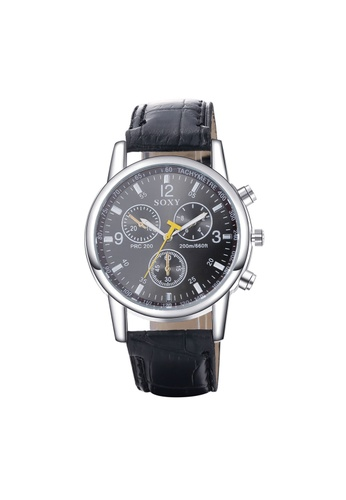 Treasure by B & D black WH0020A PU Band Three eyes Quartz Business Man Watch Stainless Steel Metal Round Dial TR022AC32UODPH_1