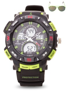 Chronograph Watch With Free Sunglasses JC-H1219-MB-03
