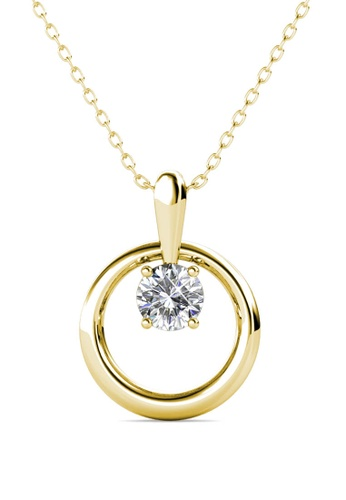 Her Jewellery gold Octavia Pendant (Yellow Gold) - Made with premium grade crystals from Austria F635EAC65102B4GS_1