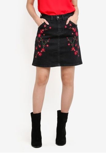 Something Borrowed black Embroidery High Rise Fitted Denim Skirt A46FFZZAA84AAFGS_1