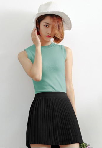 Shopsfashion blue Knitted Top in Turquoise Blue D813AAACB90094GS_1