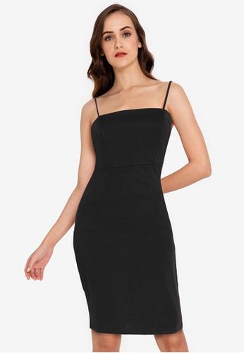 ZALORA WORK black Square Neck Cami Bodycon Dress 7C6E6AA53BB181GS_1
