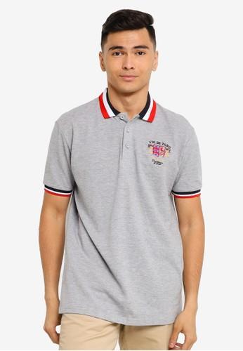 Fidelio grey Embroidery Lining Collar Polo Shirt 3ACADAA3A79C6DGS_1