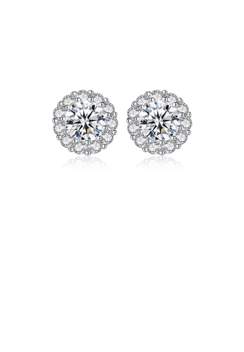 Glamorousky white 925 Sterling Silver Elegant Sterling Silver Flower-shaped Cubic Zirconia Stud Earrings A6A07AC055806EGS_1