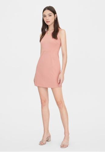 Pomelo orange V Neck Sleeveless Dress - Peach D0F96AA4C2E22FGS_1