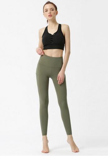 B-Code green ZYG3060a-Lady Quick Drying Running Fitness Yoga Sports Leggings -Green 3608FAAF5943E2GS_1