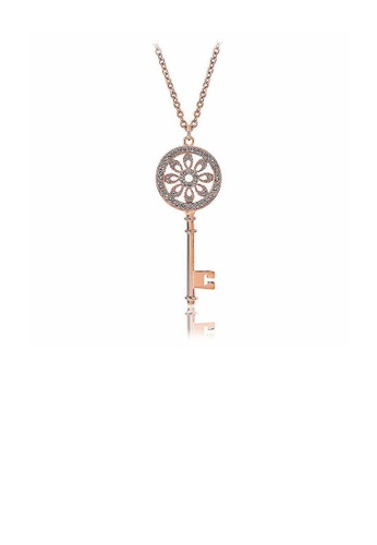Glamorousky silver Rose Gold Plated Key Pendant with White Austrian Element Crystal and Necklace 09A57ACC77BF7FGS_1