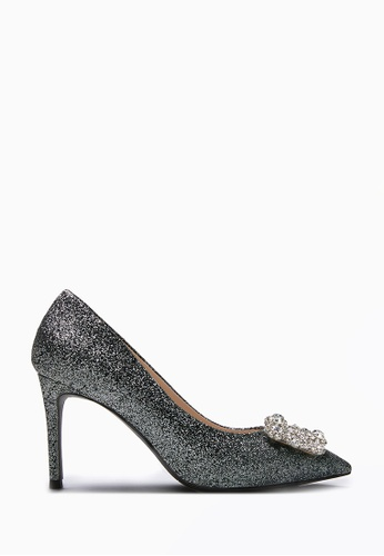 PAZZION black Sparkly Embellished Front Heels 9FE3ESH41CFC58GS_1