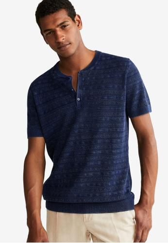 Mango Man 藍色 針織T恤 129B1AA611B106GS_1