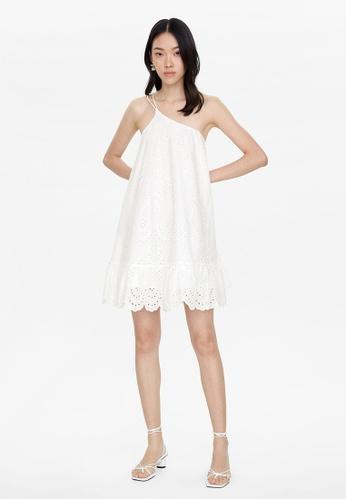 Pomelo white Eyelet One Shoulder Dress - White D0B89AA1C5CF81GS_1