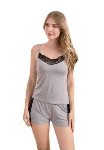 LYCKA grey LCB2174-Lady Casual Pajamas Two Pieces Set-Grey A72B4US0827D1DGS_1
