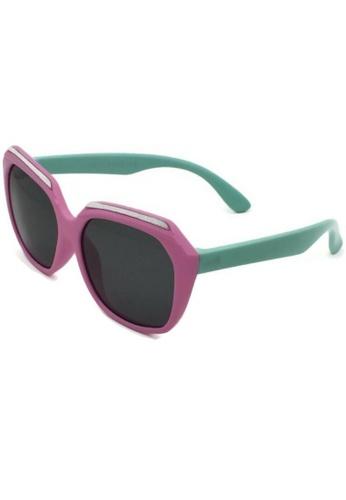 jojo pink Oversized Top Glittered Square Polarized Sunglasses 6D786KCA7E5163GS_1