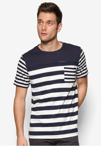 撞色條紋短袖TEE, 服飾,zalora 泳衣 條紋T恤