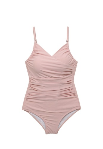 ZITIQUE pink Plain Sling One-Piece Swimsuit - Pink 5CCFAUS73E4E80GS_1