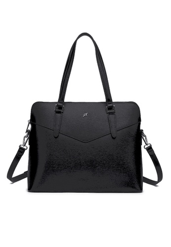 ENZODESIGN black ENZODESIGN Saffiano Leather Top Zip Business Satchel(B12186GRY) A064AAC552A751GS_1