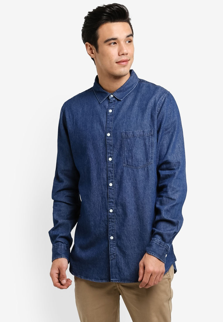 Indigo Cotton Denim 91 Shirt On wCFPqnStx