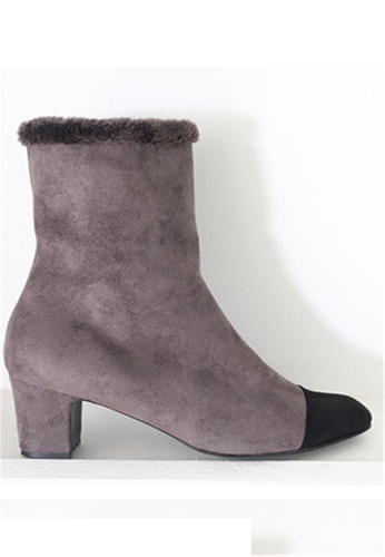 Crystal Korea Fashion grey Korean Made Suede Leather With Warm Boots CR681SH2WDLTHK_1