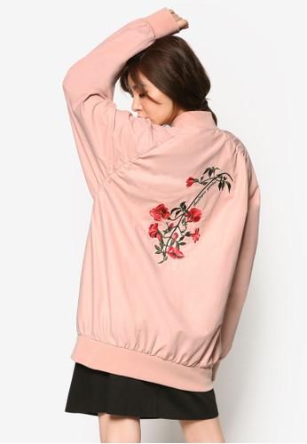 韓系時尚刺繡玫瑰長版外套, 服飾,zalora 心得 夾克 & 大衣