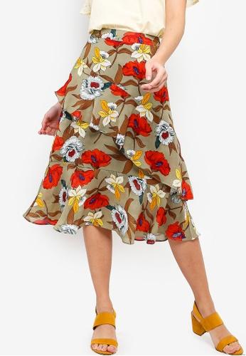ZALORA green and multi Ruffles Skirt C909EAAF096628GS_1