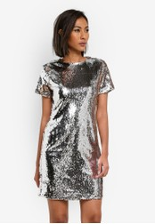 Dorothy Perkins silver Petite All Over Sequin Dress DO816AA0SB69MY_1