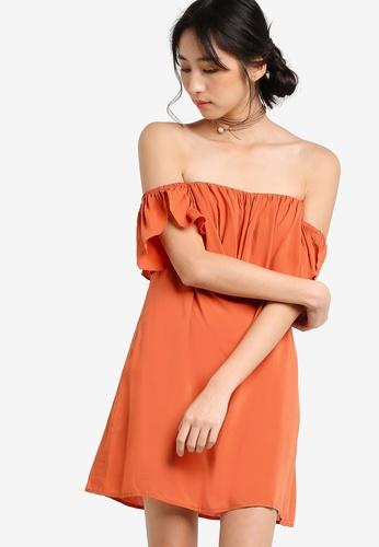 Something Borrowed orange Overlap Off Shoulder Flutter Dress 271DDAAE85A940GS_1