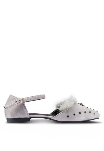 Berrybenka 灰色 人造毛皮鑽飾平底鞋 3A76DSH3E51DE3GS_1