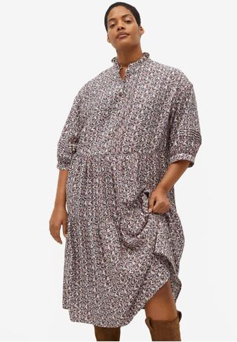 Violeta by MANGO white Plus Size Flowy Printed Dress 3A3E7AA671E174GS_1