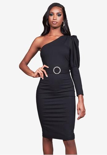 Lavish Alice black Puff Sleeve Midi Dress With Diamante Belt FF7E8AAF1B3EE2GS_1