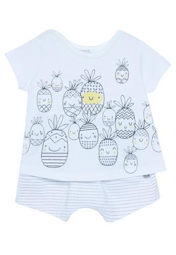 Du Pareil Au Même (DPAM) white Pineapple Top & Bottom Set 46CC6KAC6BFD5CGS_1