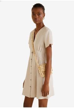 25038b37bf1 Mango grey Pleats Detail Linen-Blend Dress 60BC1AAA318C89GS 1