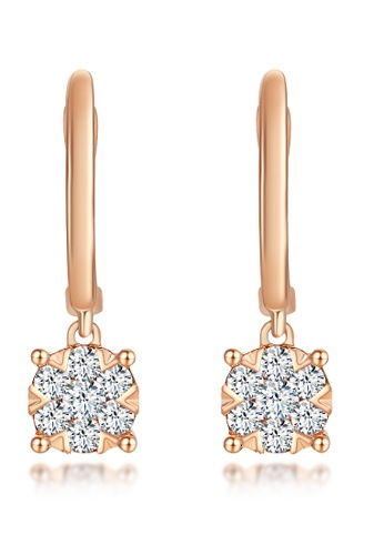 Prince Jewellery And Watch red and gold 18k Rose Gold Diamond Round Earrings F08E9AC50D9EBBGS_1