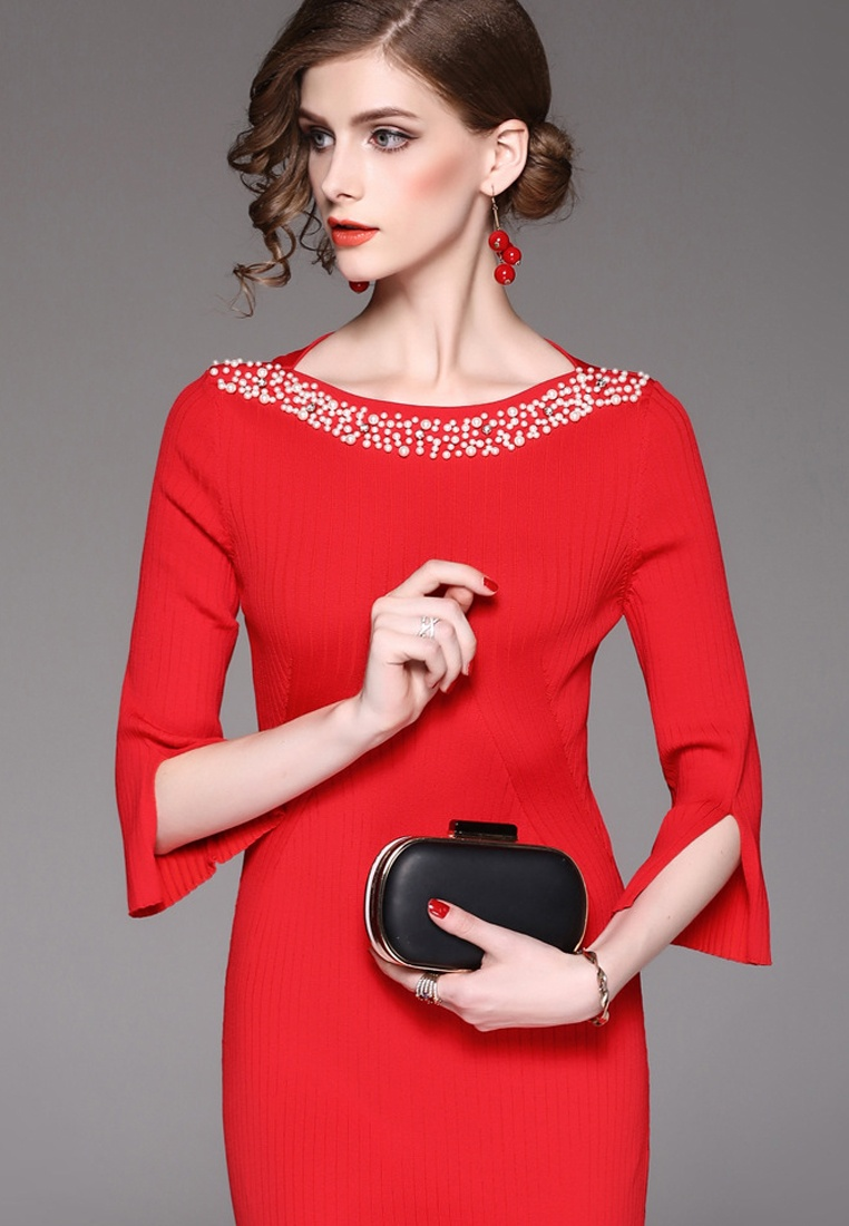 Red Dress Mid Sleeves One W Red 2017 Piece A092716R Midi F Sunnydaysweety 8qxwEFp1