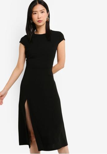 ZALORA BASICS black Basic High Neck Fit And Flare Dress 3659DAA5B91559GS_1
