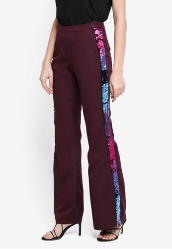 Lubna purple Side Sequin Bell Shape Pants 93BFBAAA1BBA13GS_1