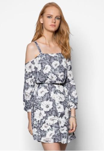 印花挖肩腰飾連身裙, 服zalora 衣服尺寸飾, 洋裝