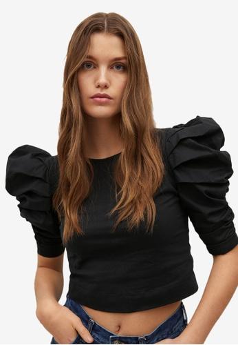 Mango black Cotton Top With Puffed Sleeves F1776AAA97EE1CGS_1