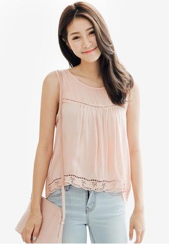 Tokichoi orange Lace Insert Detail Vest Top 10879AA9CDC267GS_1