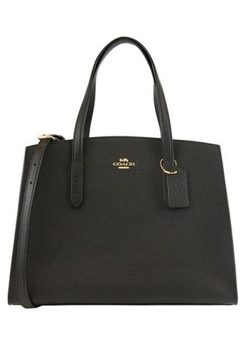 Coach black Coach Charlie Carryall Shoulder Bag in Black/Light Gold F10E6AC254C5D5GS_1