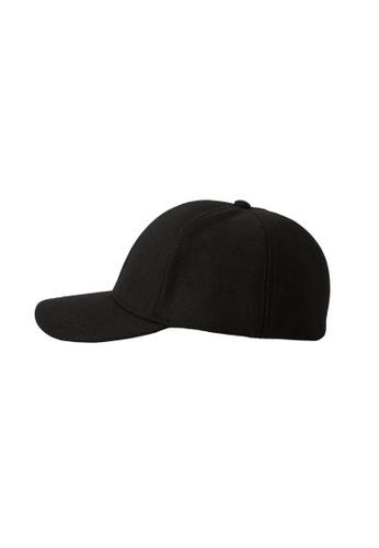 MANGO Man black Wool-Blend Baseball Cap BA99CAC5DFEE78GS_1