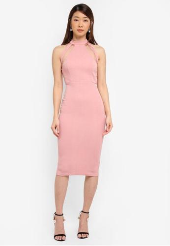 AX Paris pink Mesh Detail Bodycon Dress CE2EFAAC7893E4GS_1