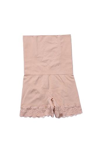 YSoCool beige High Waist Shaping Lace Trim Safety Shorts Underwear C7738US1172222GS_1