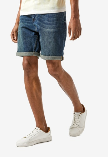 Burton Menswear London blue Blue Relaxed Greencast Whisker Shorts 3A864AA96DCB25GS_1