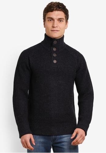 Burton Menswear London 海軍藍色 Button Neck Jumper BU964AA0S7EOMY_1
